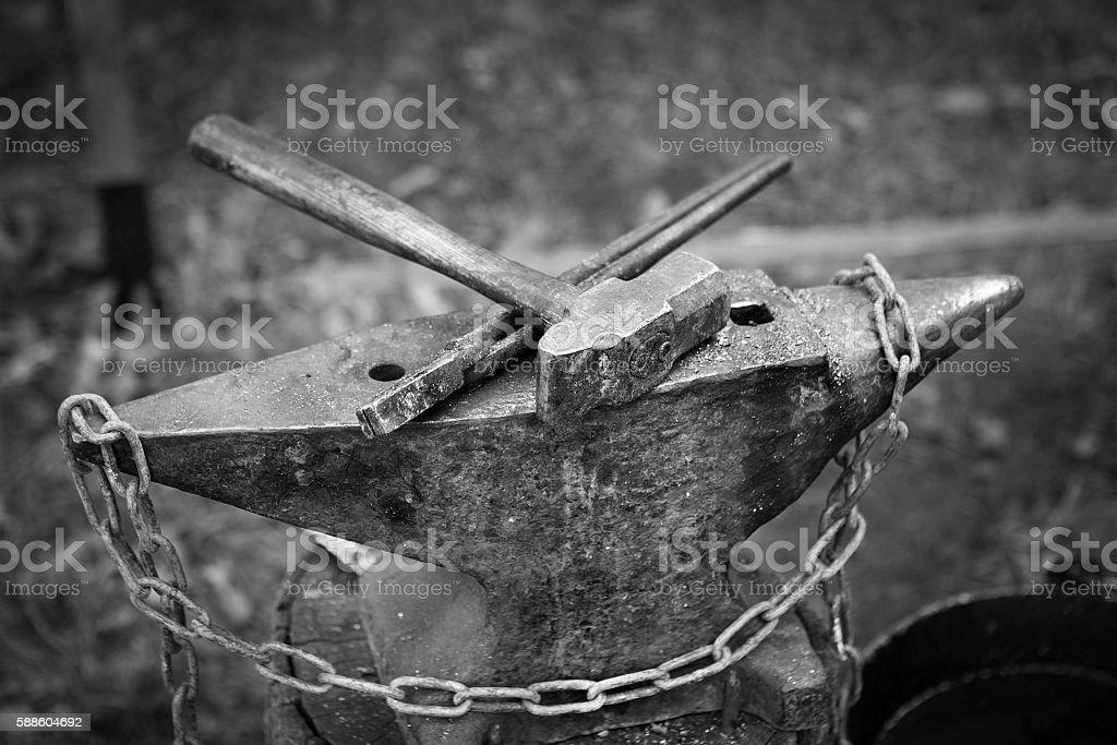 Hammer and anvil blacksmith stock photo
