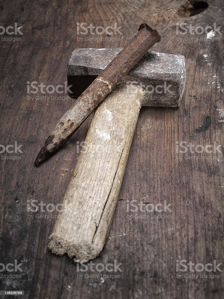 Hammer and chisel stock photo