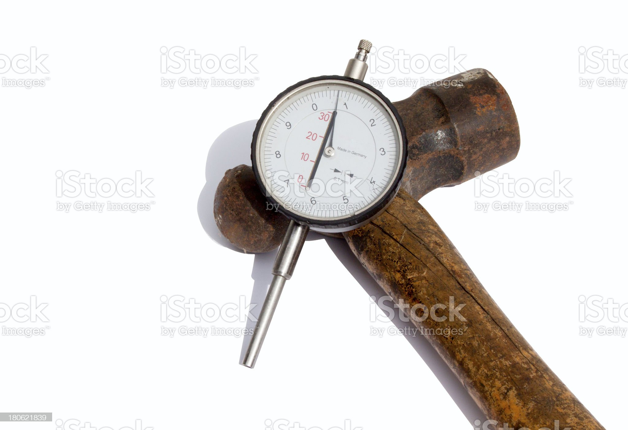 Hammer And Depth Gauge royalty-free stock photo