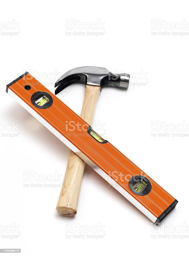 Hammer and Level royalty-free stock photo