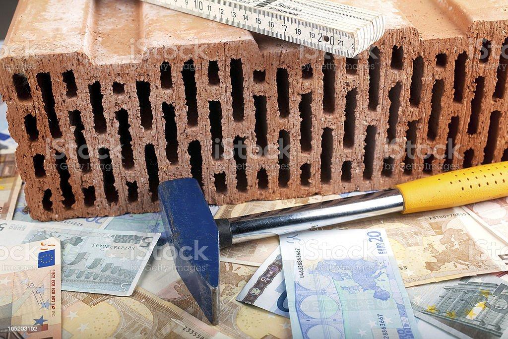 Hammer and money stock photo