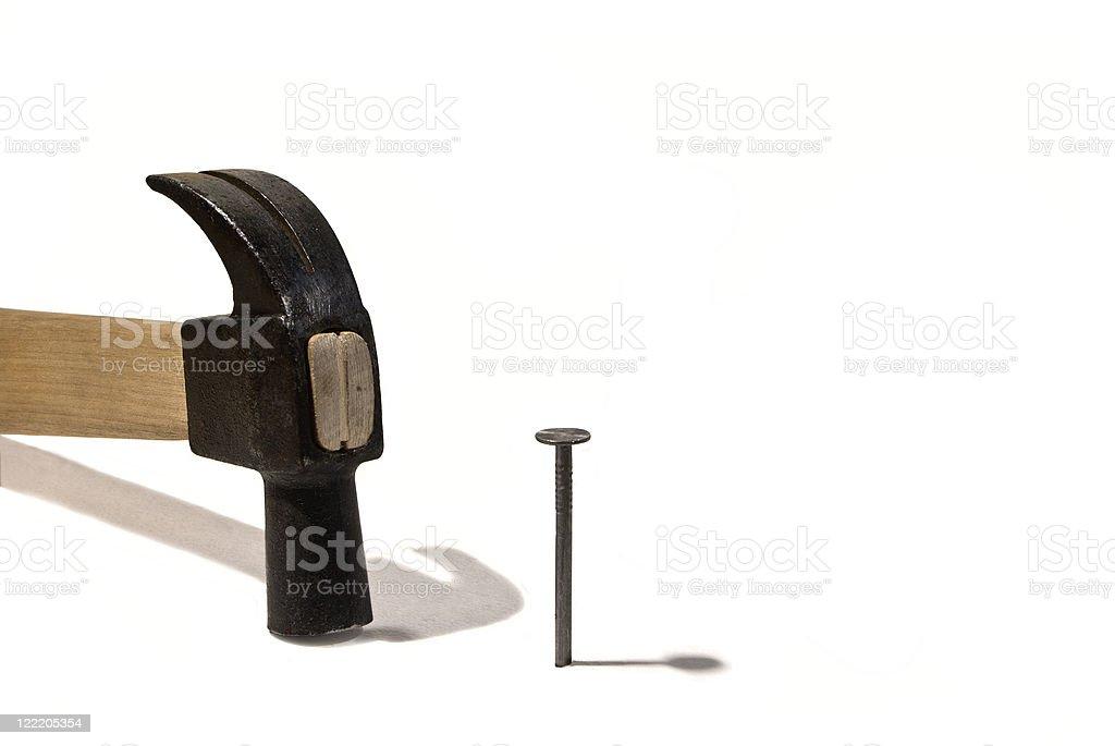 Hammer and  nail royalty-free stock photo