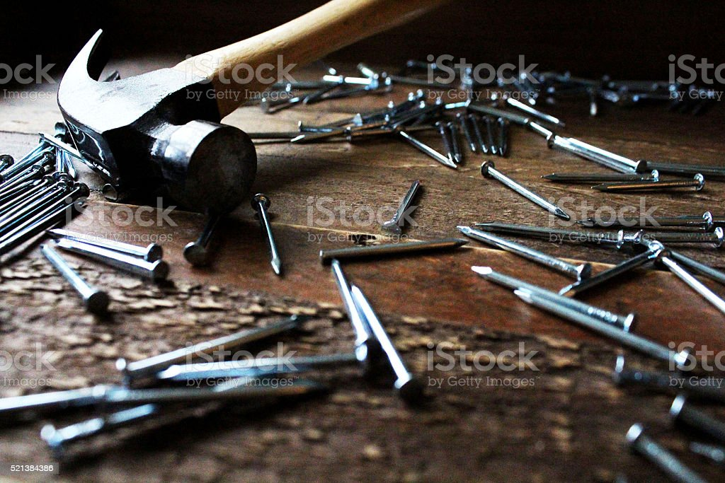 hammer and nails royalty-free stock photo