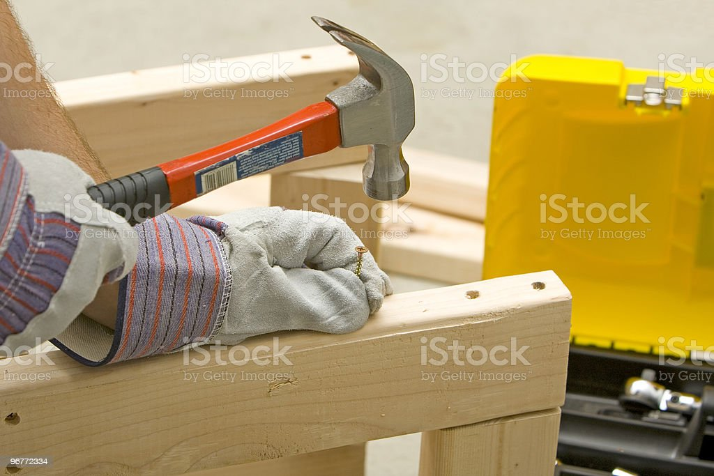 hammer and screw royalty-free stock photo