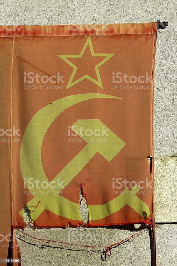 Hammer and Sickle old banner, Communist symbol stock photo