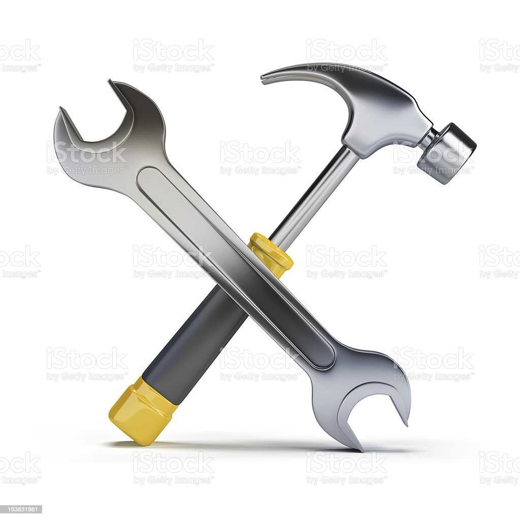 hammer and wrench stock photo