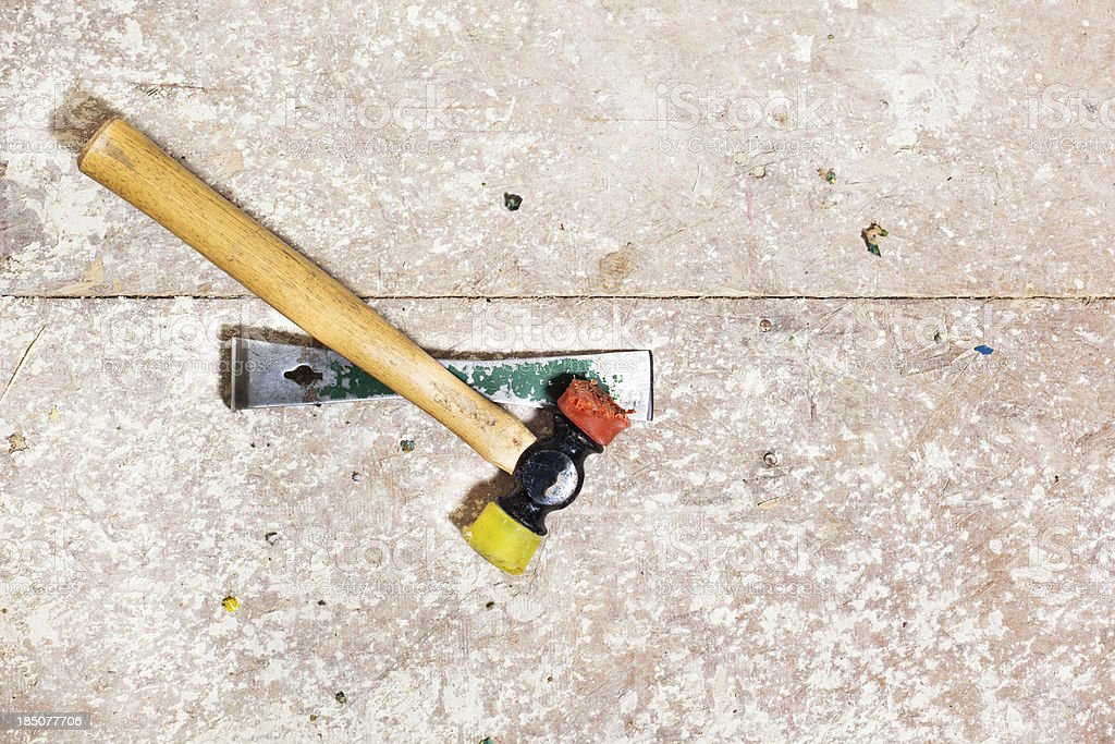 Hammer on a Floor stock photo