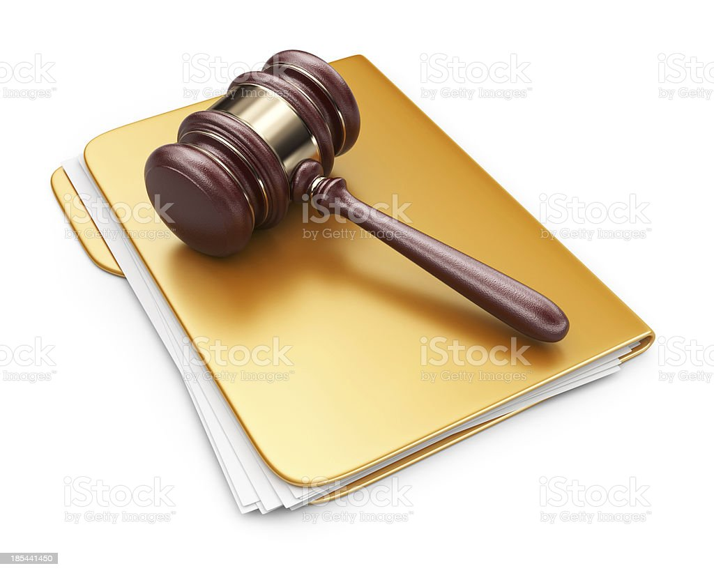 LAW hammer on computer folder. 3D Icon isolated stock photo