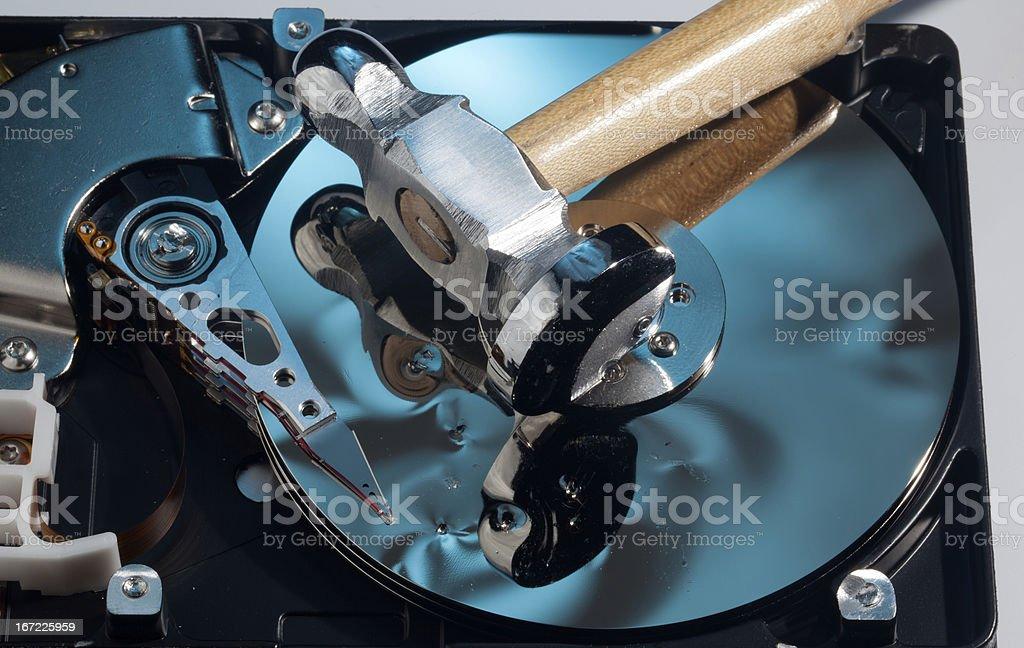 Hammer on damaged hard drive stock photo