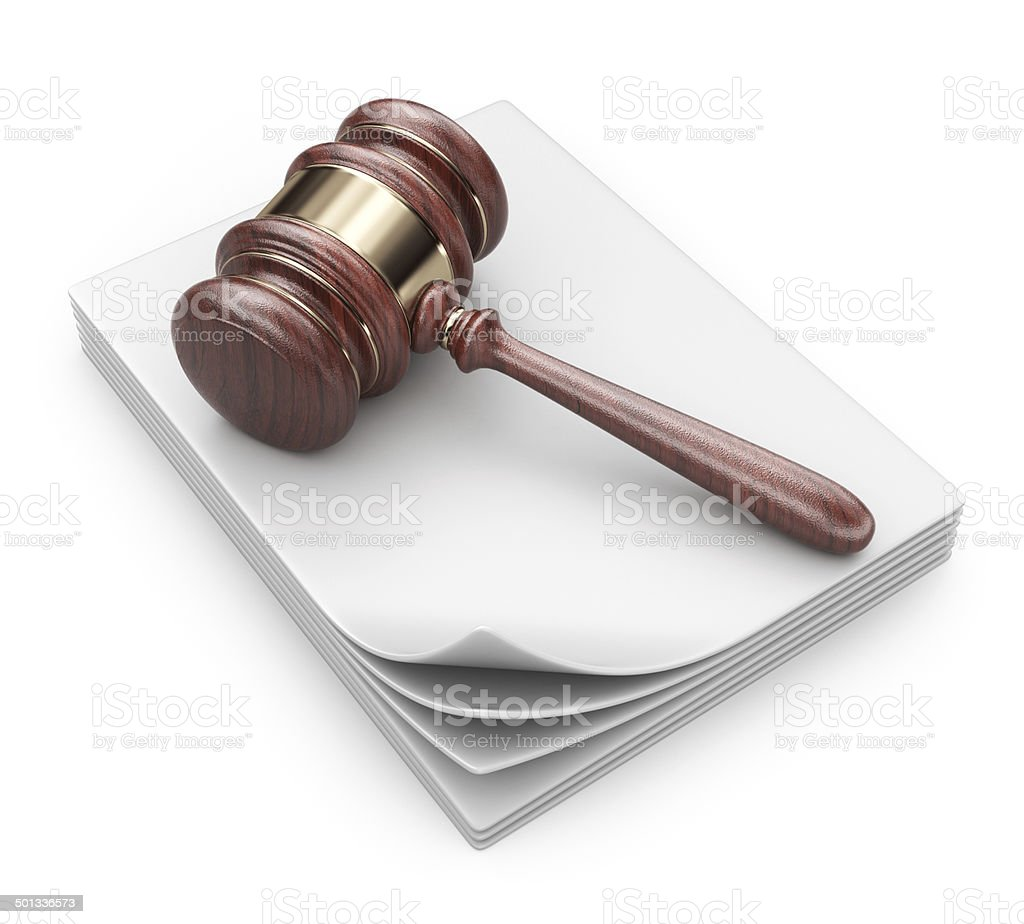 LAW hammer on documents. Legal concept;  3D Icon isolated stock photo