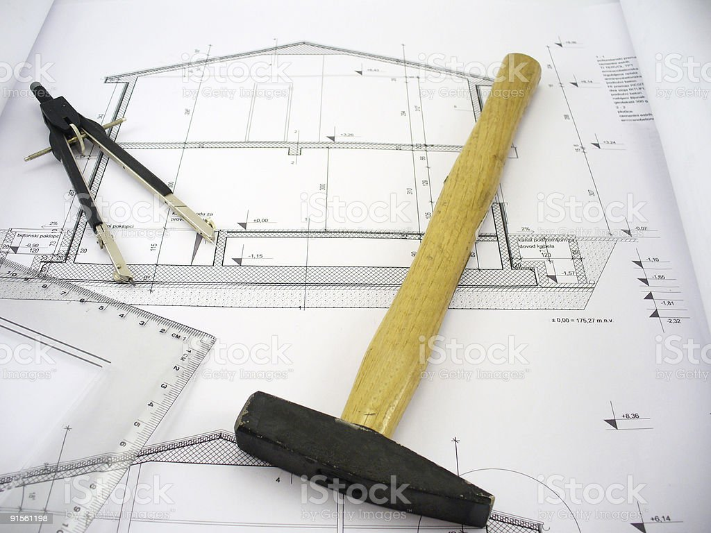 hammer on house plans royalty-free stock photo