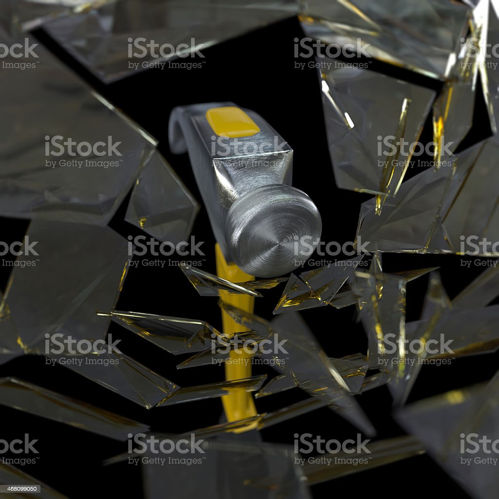 hammer smashing a glass concept background stock photo