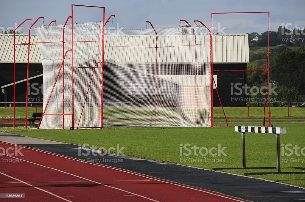 Hammer throw caged arena, U.K. stock photo