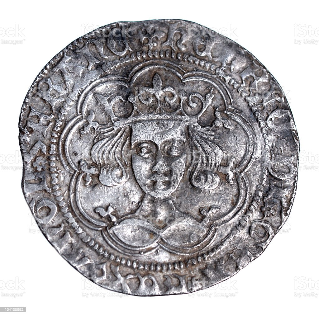 Hammered Silver Groat of Henry VI from 1430-1431, Obverse stock photo