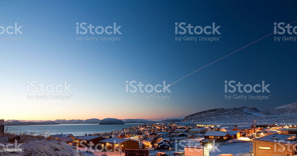 Hammerfest by daytime during winter stock photo
