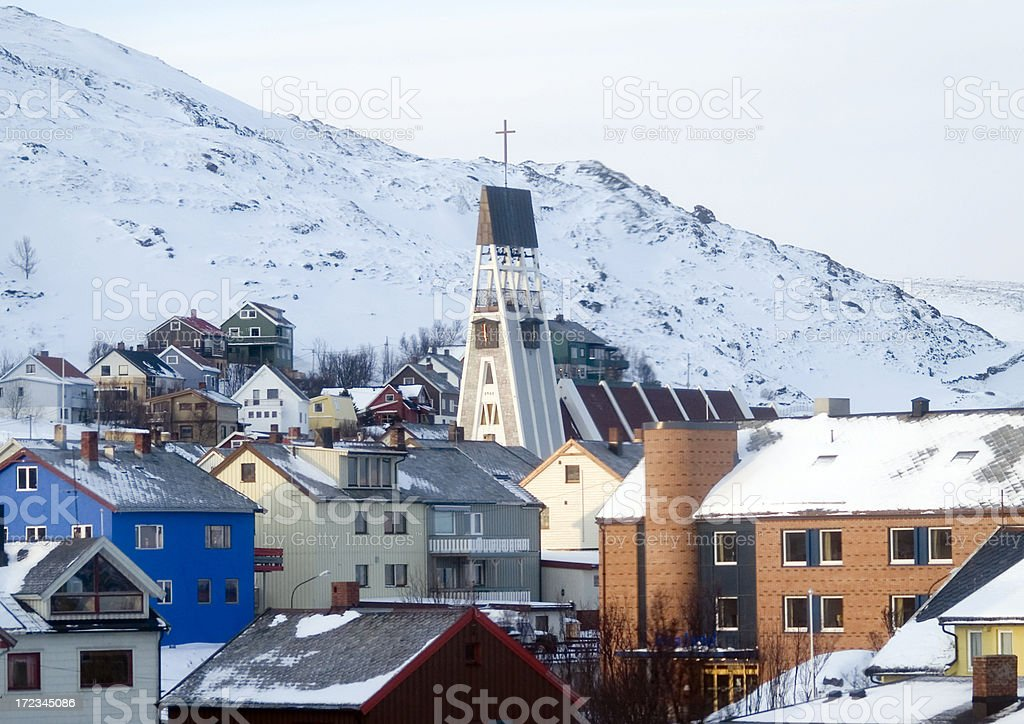 Hammerfest cathedral stock photo
