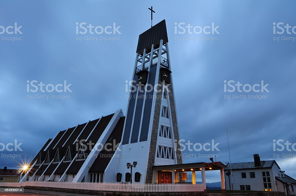 Hammerfest Church, Norway stock photo