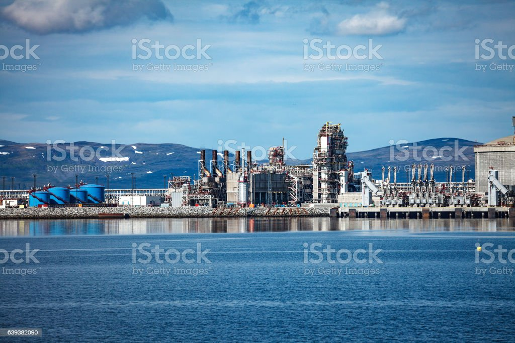 Hammerfest Island Muolkkut Northern Norway, gas processing plant stock photo
