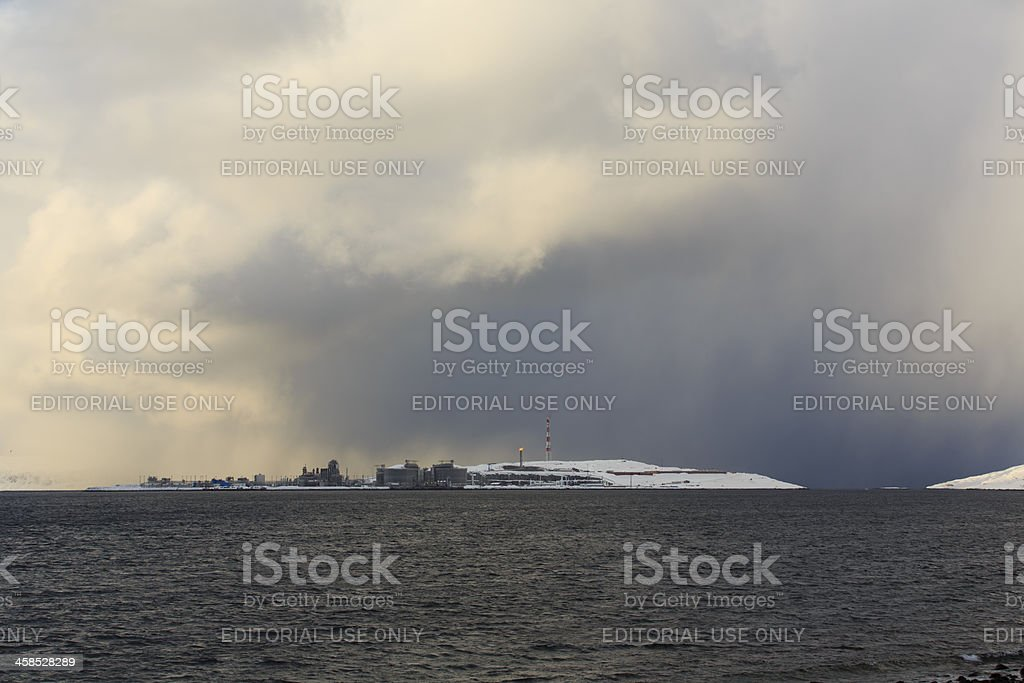 Hammerfest LNG, oil industri in the arctic. . stock photo
