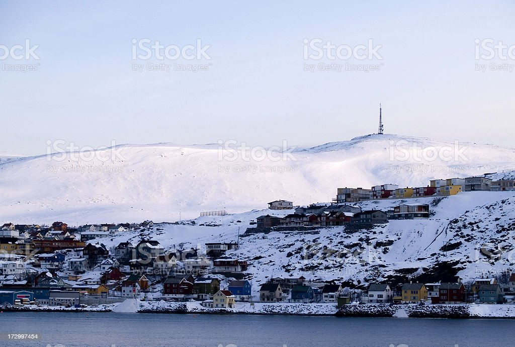 Hammerfest Norway at sunset stock photo