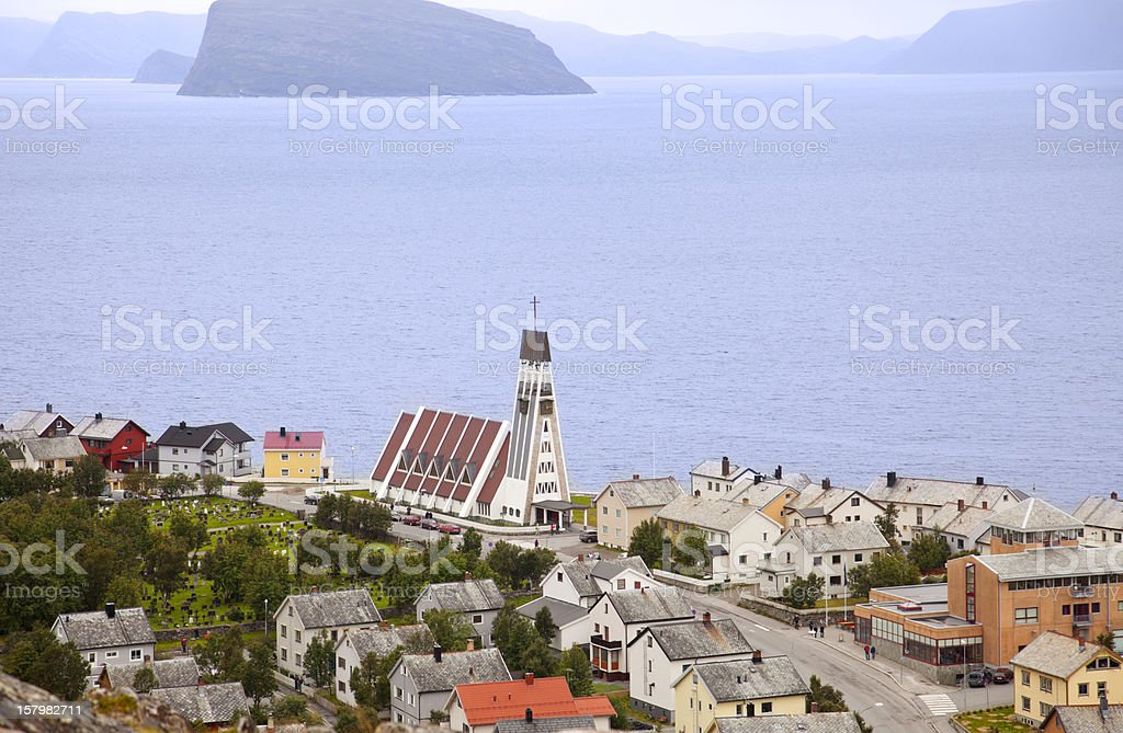 Hammerfest, Norway, the world's northernmost town . stock photo