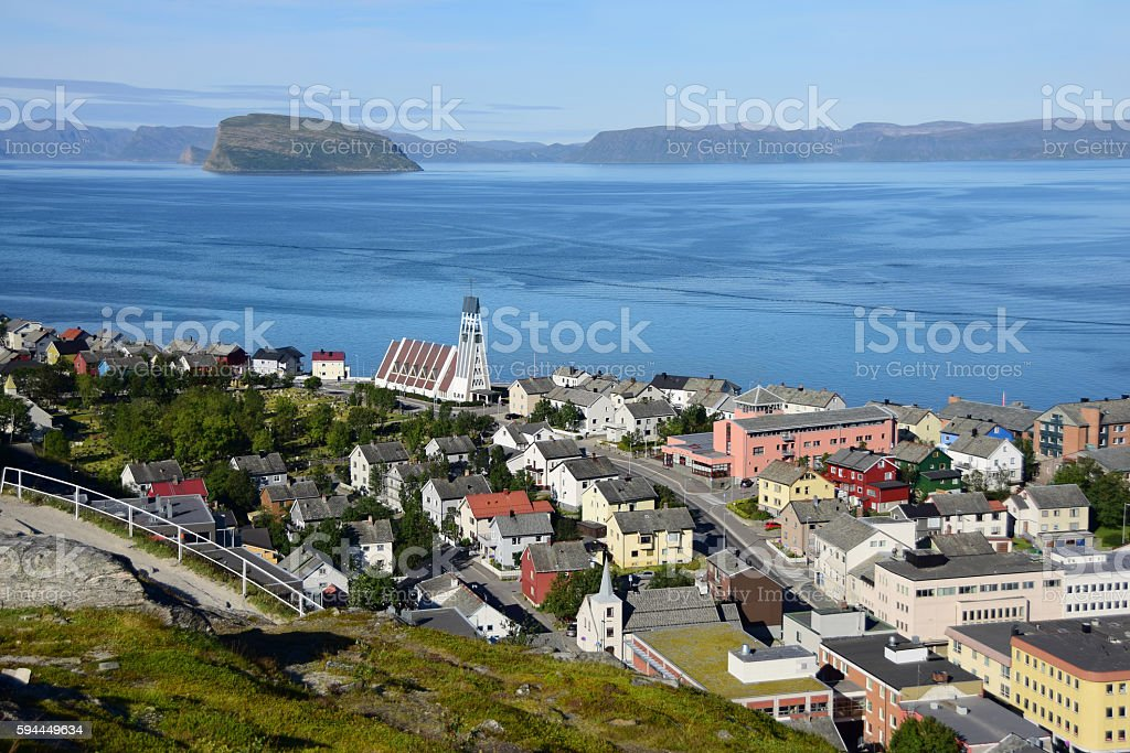 Hammerfest, Norway Viewed From Zig Zag Hiking Path stock photo