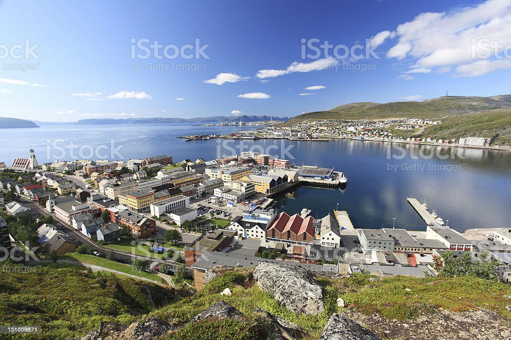 Hammerfest town stock photo