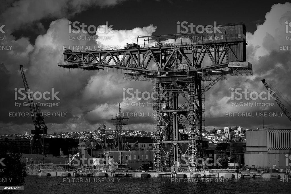 Hammerhead crane in Garden Island Naval Base, Sydney stock photo