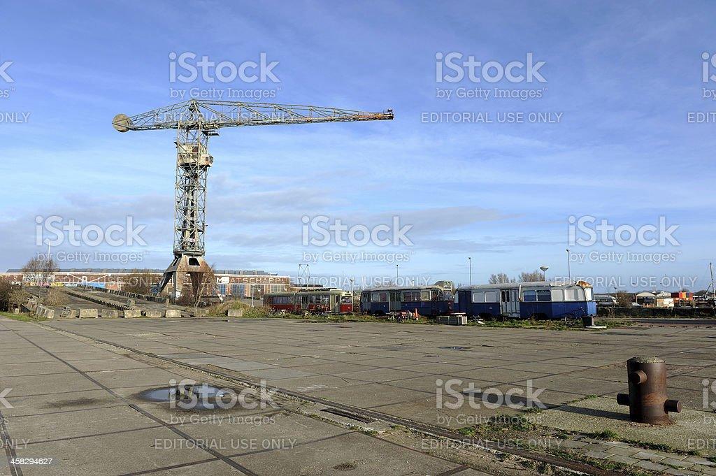 Hammerhead crane on old shipyard royalty-free stock photo