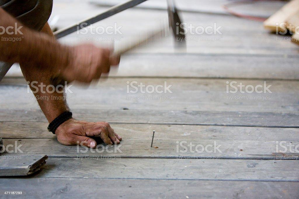 Hammering nail royalty-free stock photo