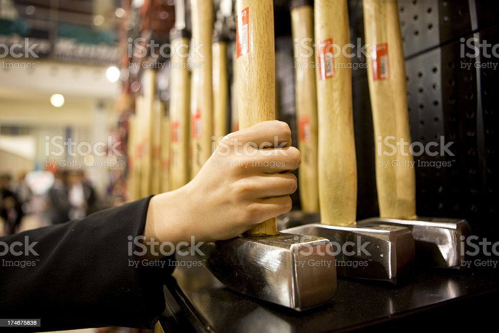 Hammers in shop royalty-free stock photo