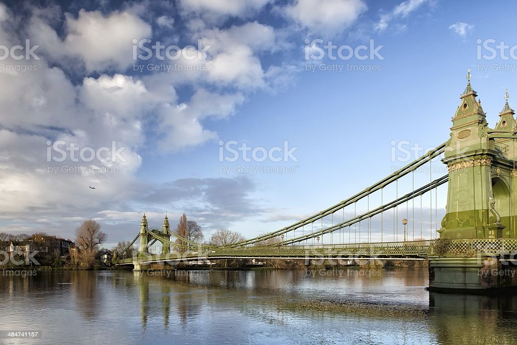 Hammersmith Bridge over the river Thames in London, England, UK stock photo