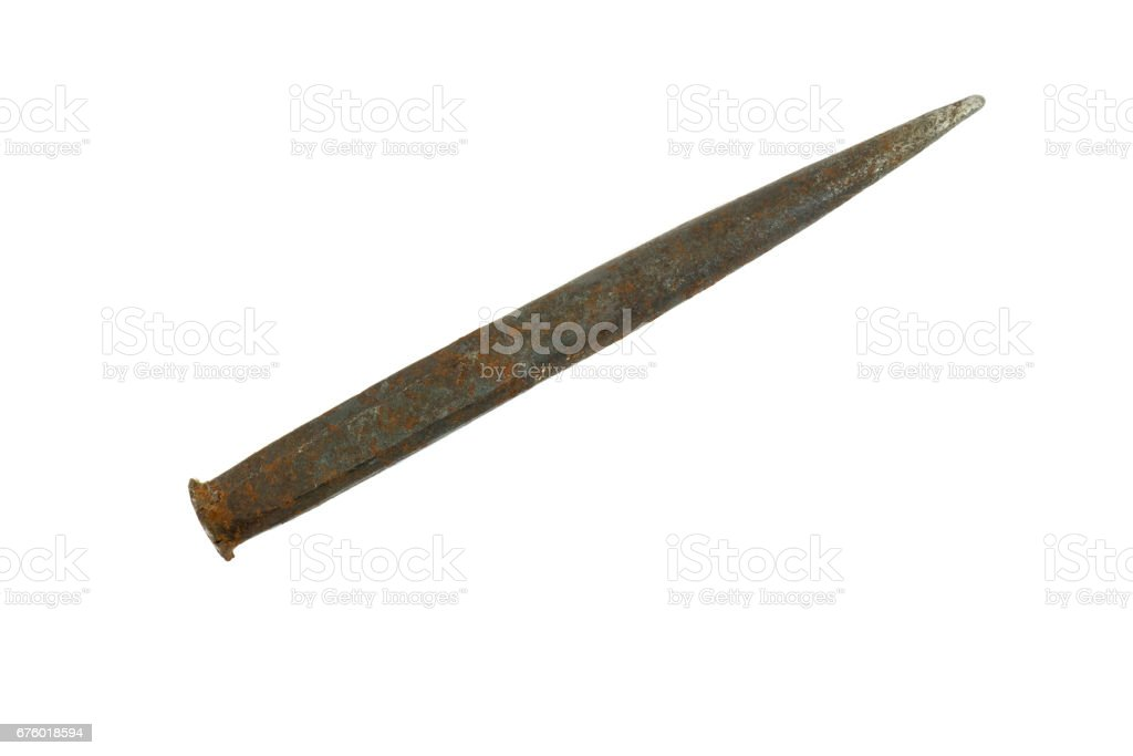 Hammer-stone with rust and work scars isolated stock photo