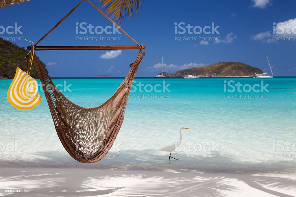 hammock and great egret at the tropical Caribbean beach stock photo