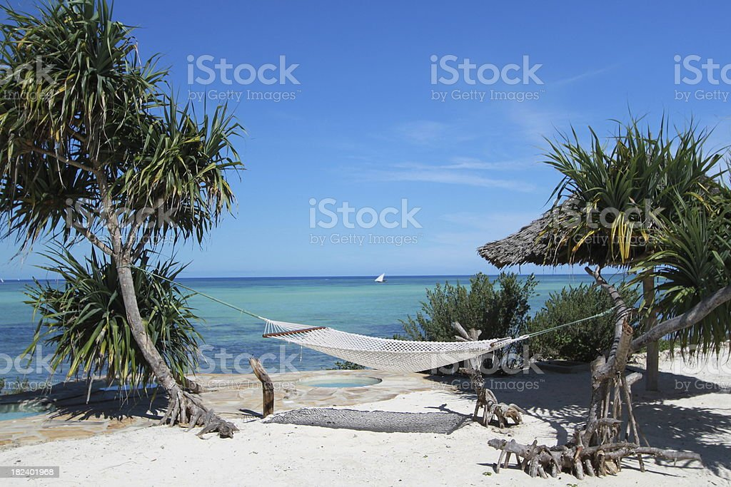 Hammock and Palm Trees on a white sandy beach royalty-free stock photo