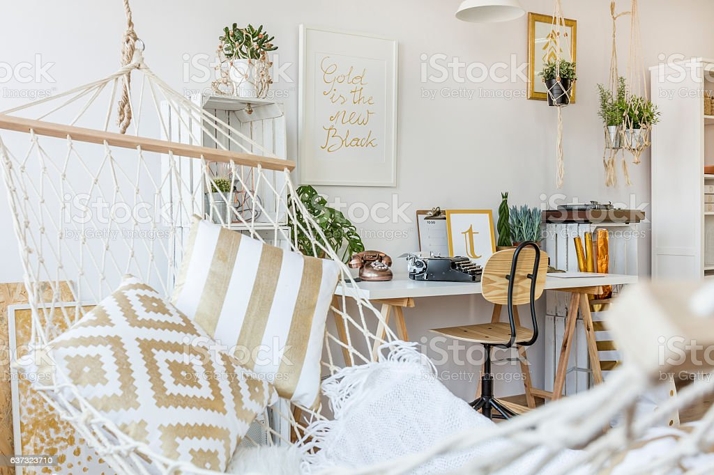 Hammock at room interior stock photo