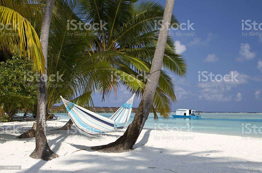 Hammock hanged on white sand beach royalty-free stock photo
