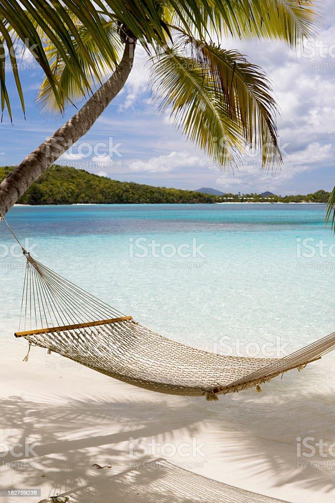 Hammock hung on palm trees on a Caribbean beach stock photo