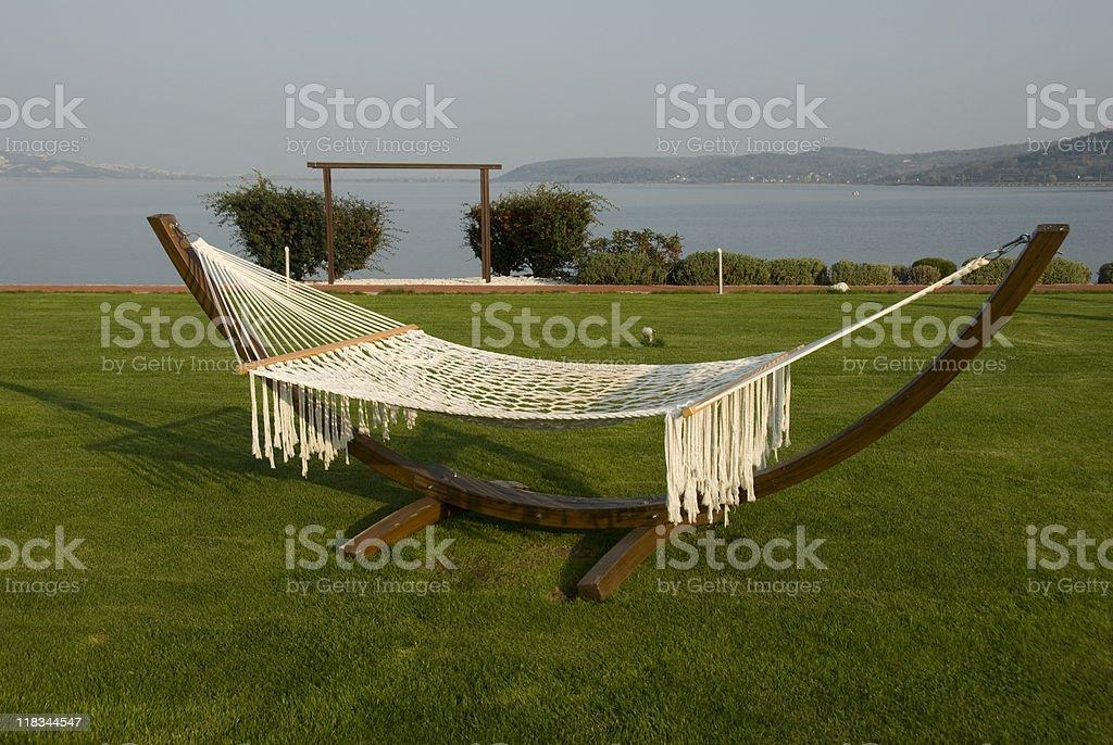 Hammock in the Garden of a Holiday Resort, Turkey, Sapanca royalty-free stock photo