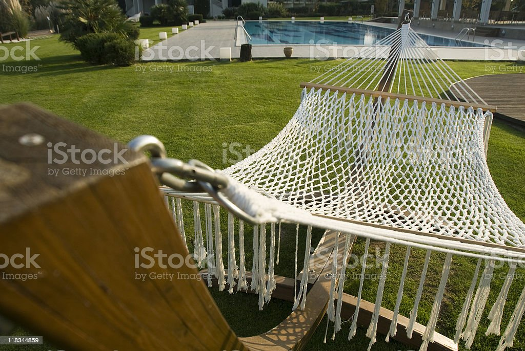 Hammock next to swimming pool, front view, Turkey, Sapanca royalty-free stock photo