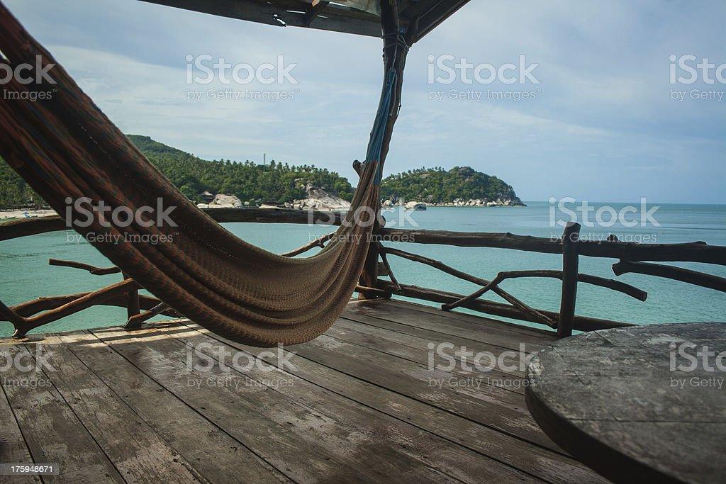 Hammock on a balcony stock photo