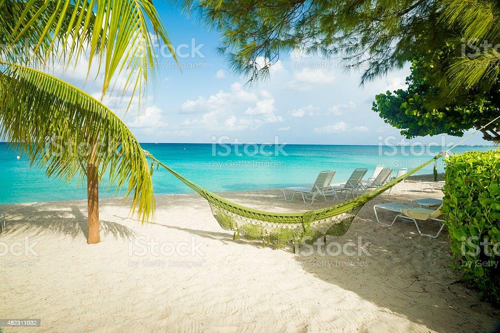 Hammock on a caribbean beach stock photo