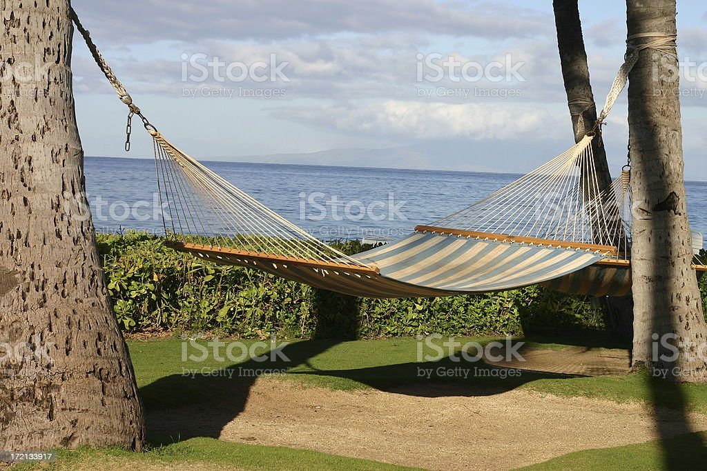 Hammock on a hawaiian beach stock photo