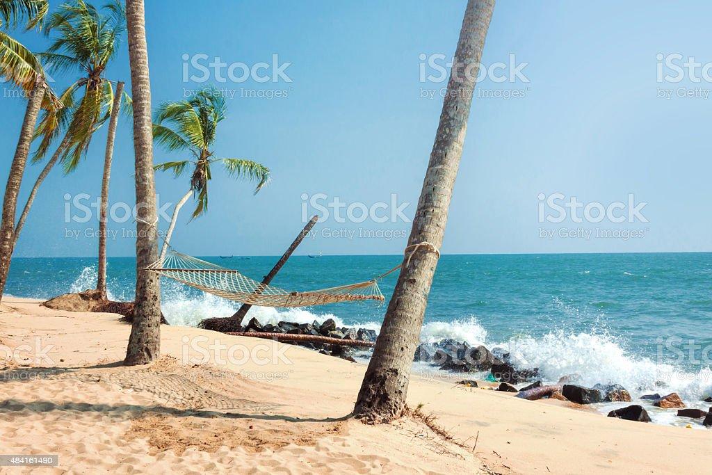 Hammock On Tropical Beach stock photo