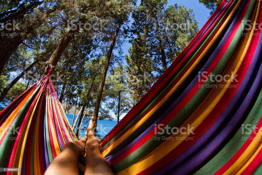 Hammock relaxation stock photo
