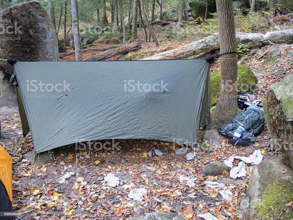 Hammock tarp in wilderness campsite stock photo