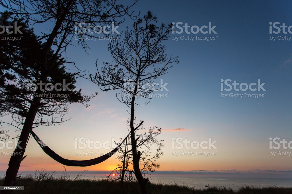 Hammock under the trees with beautiful sunrise in background stock photo