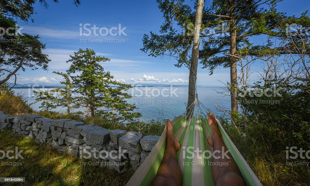 Hammock with a view stock photo