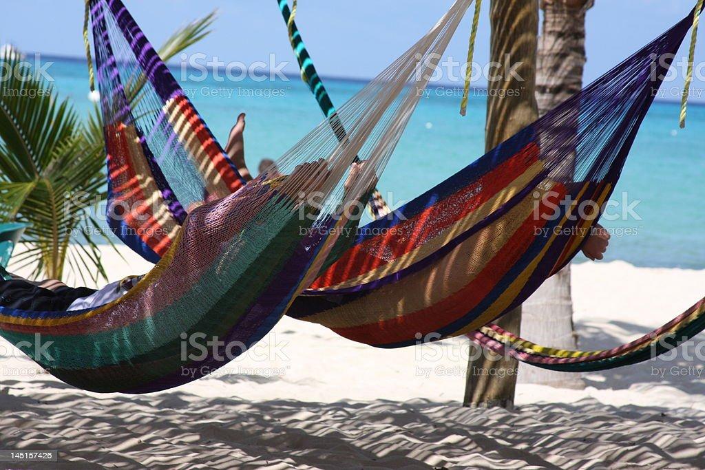 Hammocks in Mexico stock photo