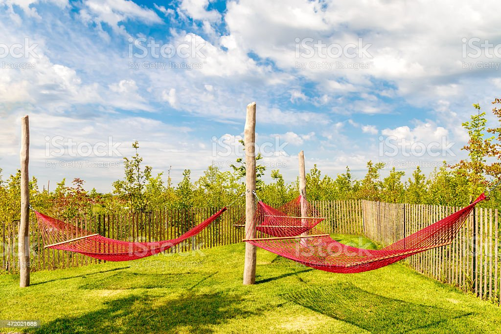 Hammocks on Governors Island - Summer in NYC stock photo